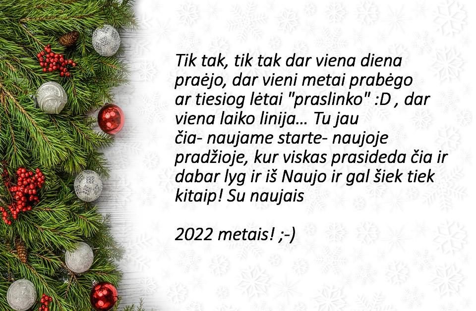 Sveikinu su naujais metais Sveikinimo tekstas ir atvirukas